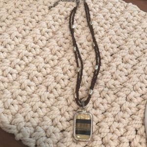 Jewelry - Glass pendant with beaded chain.
